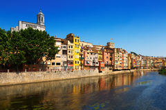 Picturesque houses on river bank of Onyar. Girona Royalty Free Stock Photography
