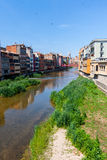 Picturesque houses on the river in Girona, Spain Royalty Free Stock Image