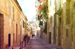 Picturesque houses of Valletta. Old street  and picturesque houses of Valletta. Malta Royalty Free Stock Image