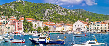 Picturesque Hvar waterfront panoramic view Stock Image