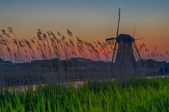UNESCO Heritage Dutch Windmills Stock Photos