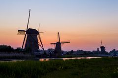 Picturesque Image of Historic Dutch Windmills Stock Images
