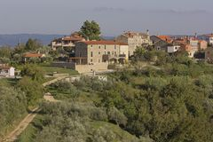 Picturesque image of Krasica in Istria, Croatia. A small village near Buje and Umag, surrounded by olive trees and vineyards royalty free stock photo