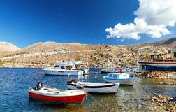 Picturesque island of Symi, traditional village  Pedi, Dodecanese, Aegean, Greece Royalty Free Stock Photos