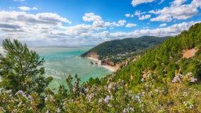Picturesque islets Faraglioni di Puglia in summer Adriatic sea bay Baia Delle Zagare. Mattinata Faraglioni stacks and beach coast of Mergoli, Vieste Gargano royalty free stock photo