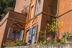 Picturesque Italian home with plants on the terrace Stock Photo