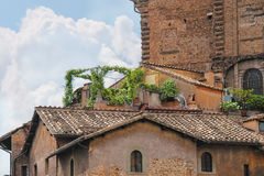 Picturesque Italian house with flowers on the terrace Stock Photography