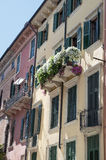 Picturesque Italian house with flowers on terrace Royalty Free Stock Photos