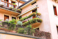 Picturesque Italian house with flowers on terrace Stock Photo