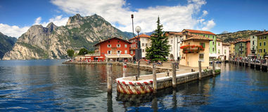 Picturesque italian village town on lakefront of Lake Garda. Royalty Free Stock Photos