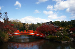 Picturesque Japanese Garden in autumn. A Japanese garden landscape with pond and bridge in autumn Royalty Free Stock Photography