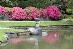 Picturesque Japanese Garden. Zen garden with beautiful flowers and pond Royalty Free Stock Images