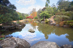 Picturesque lagoon at Mt Tomah in Autumn Royalty Free Stock Photos