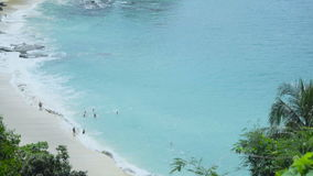 Picturesque lagoon with wild beach and turquoise water stock video
