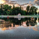 Picturesque Lake. In the city park Stock Images