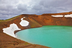 Picturesque lake in the crater Stock Image
