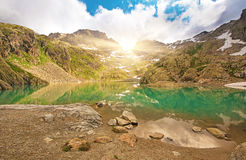 The picturesque lake in the French Alps in the Lac Blanc massif Royalty Free Stock Photos