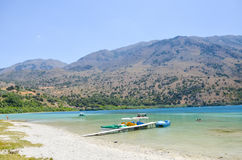 Picturesque Lake Kournas in Crete Stock Images