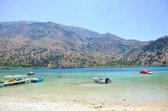 Picturesque Lake Kournas in Crete Royalty Free Stock Photo