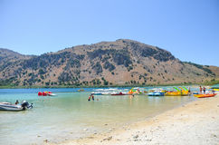 Picturesque Lake Kournas in Crete Stock Photography