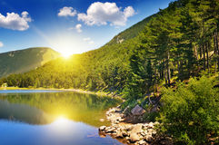 Picturesque lake, mountains and  sky Royalty Free Stock Photos