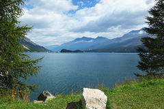 The picturesque lake in the Swiss Alps Royalty Free Stock Photo