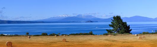Picturesque Lake Taupo and volcanoes royalty free stock image