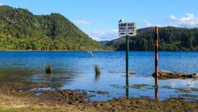Picturesque Lake Tikitapu or the Blue Lake in the Rotorua region, New Zealand stock image