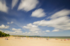 Picturesque landscape of baltic sunny beach in gdansk oliwa in the summer Stock Photos
