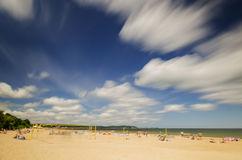 Picturesque landscape of baltic sunny beach in gdansk oliwa in the summer Royalty Free Stock Photo