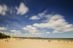Picturesque landscape of baltic sunny beach in gdansk oliwa in the summer Stock Images