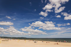 Picturesque landscape of baltic sunny beach in gdansk oliwa in the summer Royalty Free Stock Images