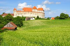 Picturesque landscape with castle Harburg. Royalty Free Stock Photography