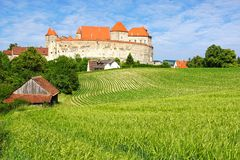 Picturesque landscape with castle Harburg. Royalty Free Stock Images