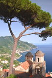 Picturesque landscape of famous Amalfi Coast, view from Villa Rufolo in Ravello, Italy Royalty Free Stock Images