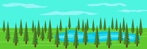 Green Fir Tree Forest with a Lake among the Trees. Picturesque landscape with fir trees Stock Images