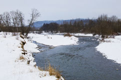 The picturesque landscape of the freezing river Stock Photos