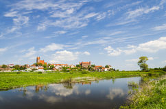 Picturesque landscape of Gniew over Wierzyca river in Poland Royalty Free Stock Image