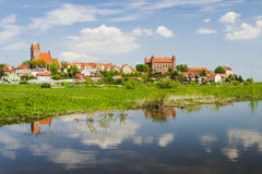 Picturesque landscape of Gniew over Wierzyca river in Poland Stock Photos