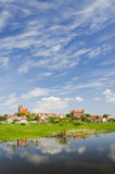 Picturesque landscape of Gniew over Wierzyca river in Poland Stock Images