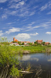 Picturesque landscape of Gniew over Wierzyca river in Poland Royalty Free Stock Photo