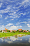 Picturesque landscape of Gniew over Wierzyca river in Poland Stock Image
