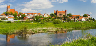 Picturesque landscape of Gniew over Wierzyca river in Poland Royalty Free Stock Images