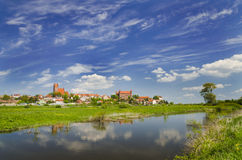 Picturesque landscape of Gniew over Wierzyca river in Poland Royalty Free Stock Photography