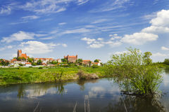 Picturesque landscape of Gniew over Wierzyca river in Poland Stock Photography