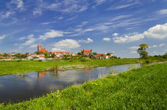 Picturesque landscape of Gniew over Wierzyca river in Poland Royalty Free Stock Photos