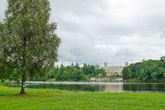 Picturesque landscape with Great Palace at a lake in Gatchina Stock Photo