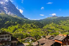 Picturesque landscape of Grindelwald valley royalty free stock image