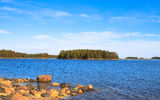 Picturesque landscape with island. Royalty Free Stock Photography