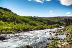 Picturesque landscape of a mountain river with traditional natur Royalty Free Stock Images